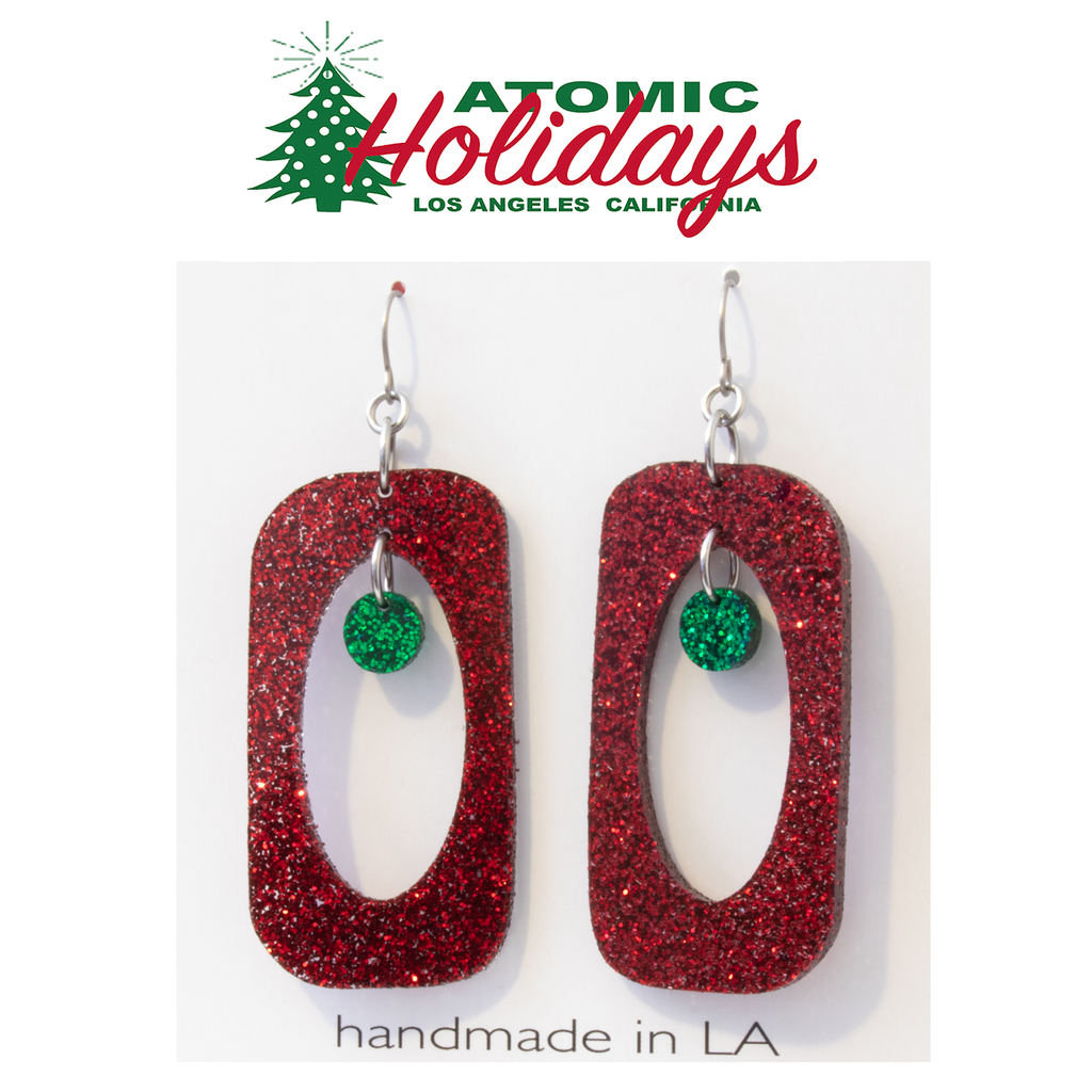 Stunning Glitter Glam Red and Green Christmas Earrings by AtomicMobiles.com