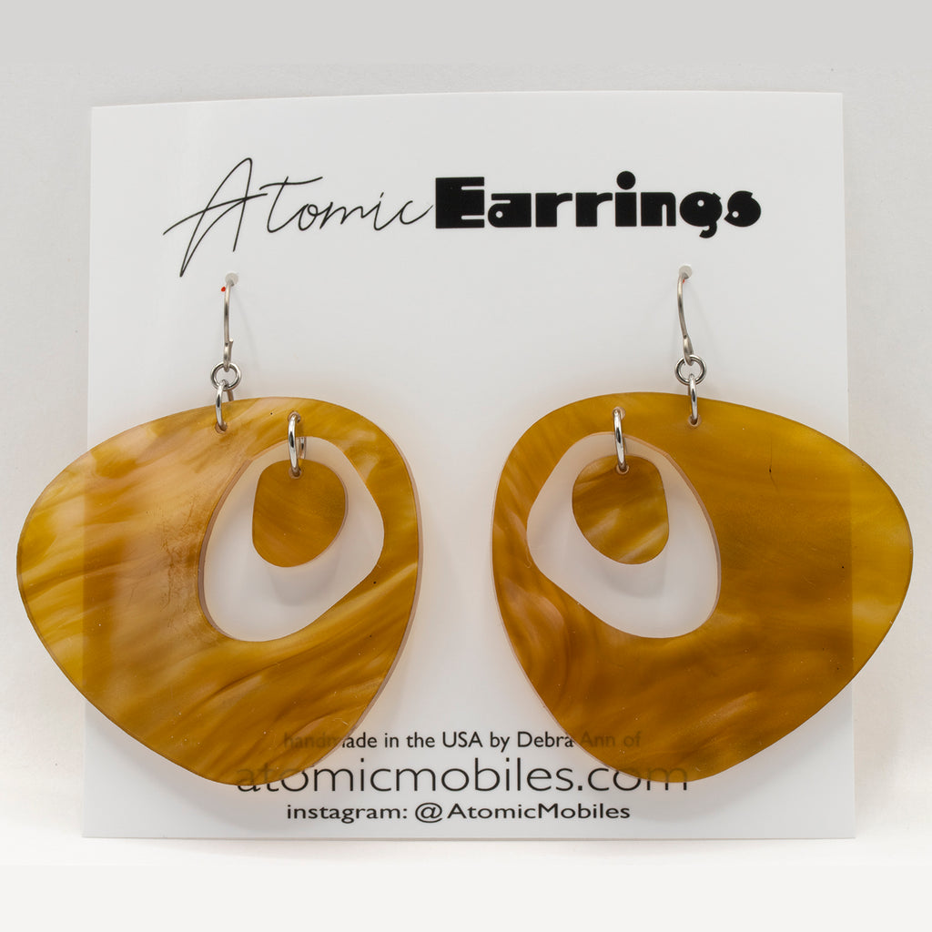 The Googie Atomic Earrings in marble gold - midcentury retro space age inspired - by AtomicMobiles.com