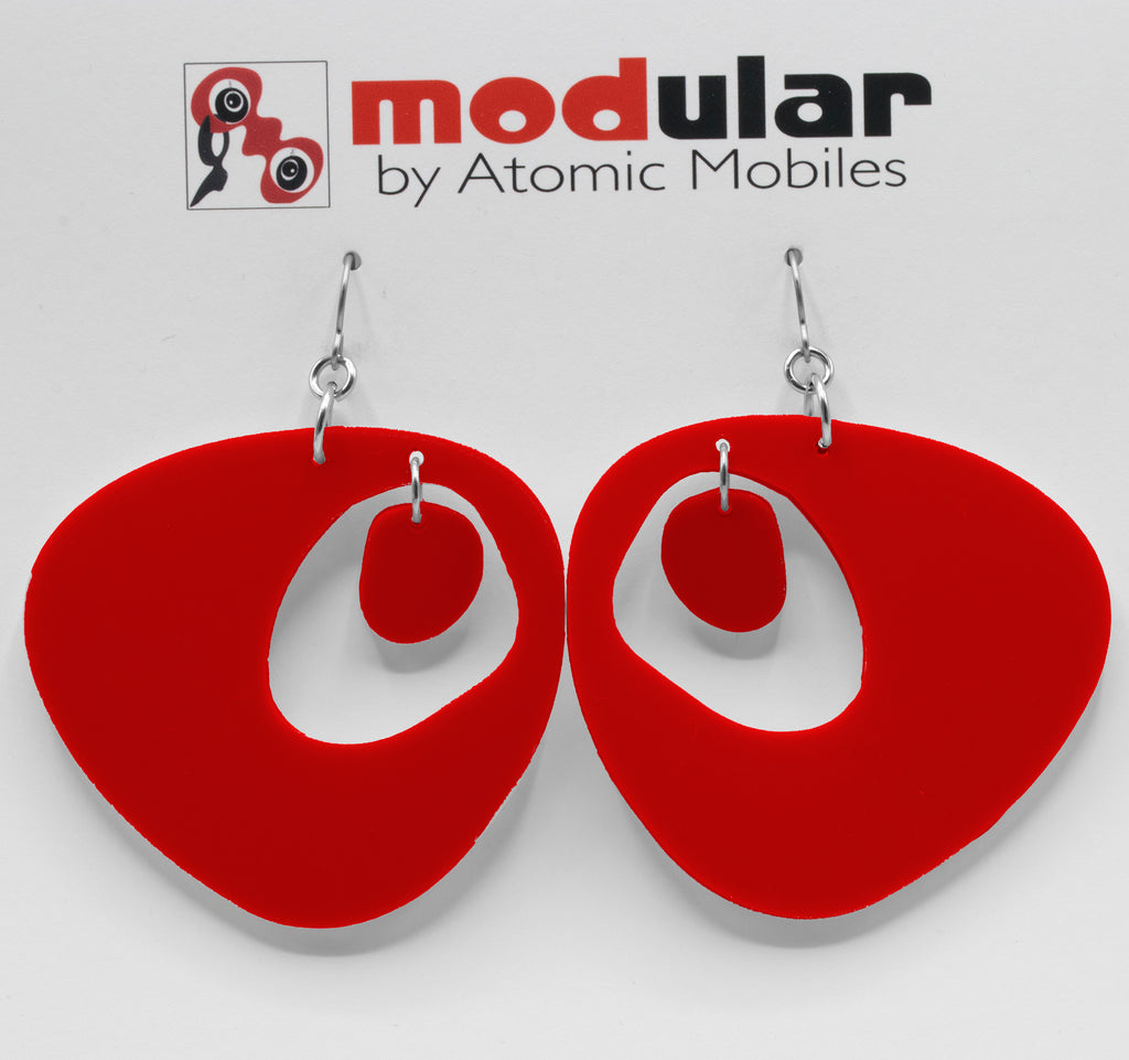 The Googie Statement Earrings in Ravishing Red - midcentury retro space age inspired dangle earrings - by AtomicMobiles.com