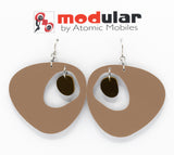 MODular Earrings - Boomerang Statement Earrings in Beige Tan and Brown by AtomicMobiles.com - retro era inspired mod handmade jewelry