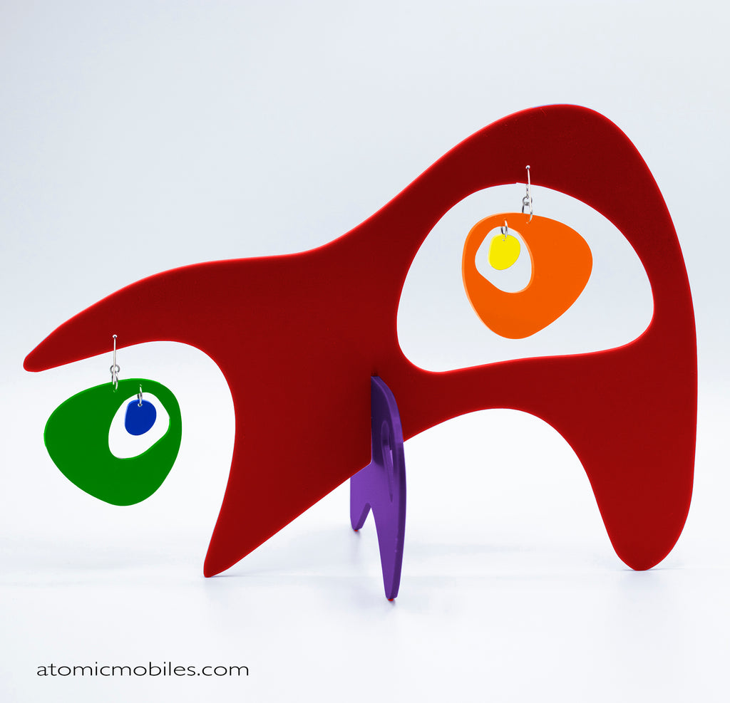LGBTQ Rainbow Pride Googie Tabletop Sculpture + Earrings in Red by AtomicMobiles.com