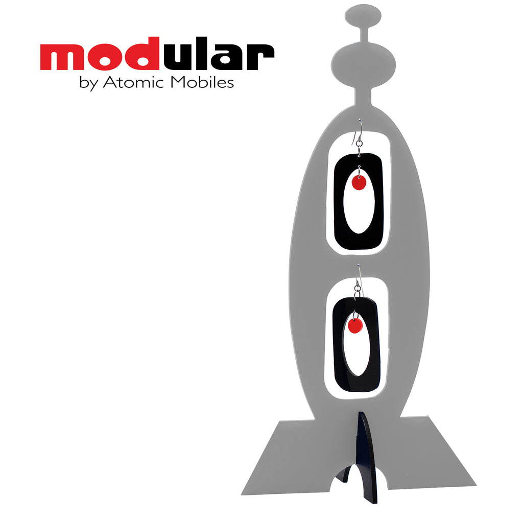 MODular Earrings + Stabile modern art sculpture in Gray, Black and Red by AtomicMobiles.com