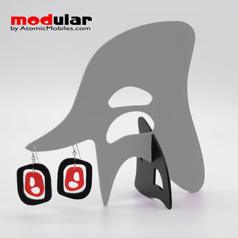 Handmade Mid 20th mod style earrings and stabile kinetic modern art sculpture in Gray Red and Black by AtomicMobiles.com