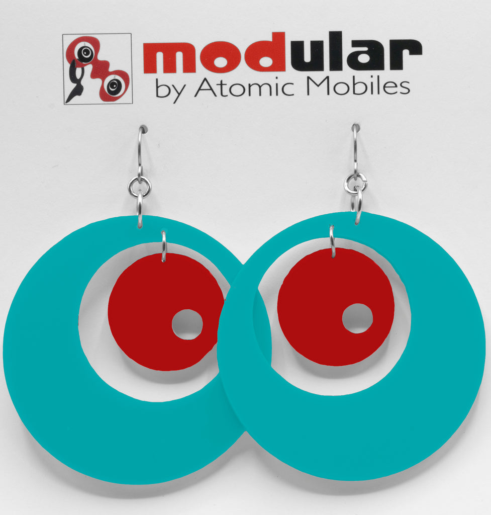 MODular Earrings - Groovy Statement Earrings in Aqua and Red by AtomicMobiles.com - retro era inspired mod handmade jewelry