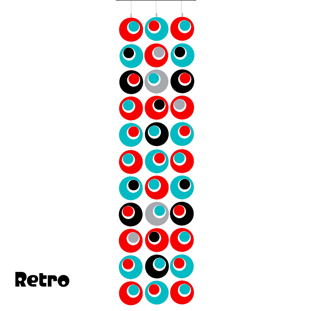 Groovy Retro Style Atomic Room Dividing Partition Screen in Retro Colors of Red, Aqua, Gray, and Black by AtomicMobiles.com