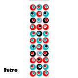 Groovy Retro Style Atomic Room Dividing Partition Screen in Red, Aqua, Black, and Gray by AtomicMobiles.com