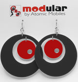 MODular Earrings - Groovy Statement Earrings in Black and Red by AtomicMobiles.com - retro era inspired mod handmade jewelry
