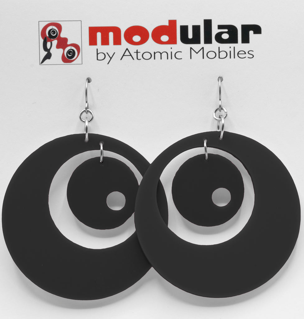 Groovy Statement Earrings in Black - space age midcentury retro inspired dangle earrings - handmade jewelry by AtomicMobiles.com