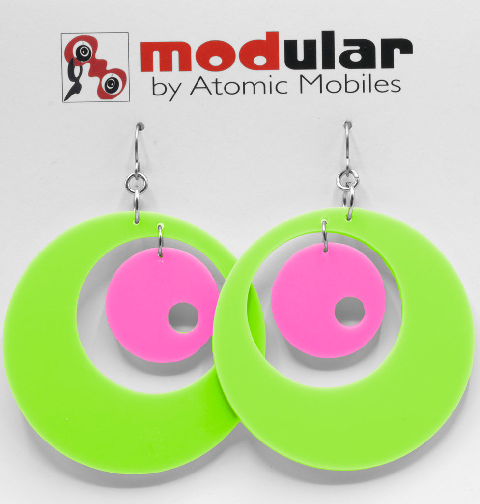 MODular Earrings - Groovy Statement Earrings in Lime and Hot Pink by AtomicMobiles.com - retro era inspired mod handmade jewelry