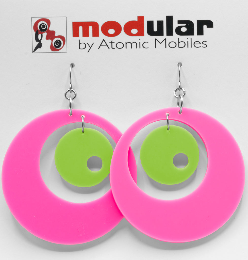 MODular Earrings - Groovy Statement Earrings in Hot Pink and Lime by AtomicMobiles.com - retro era inspired mod handmade jewelry