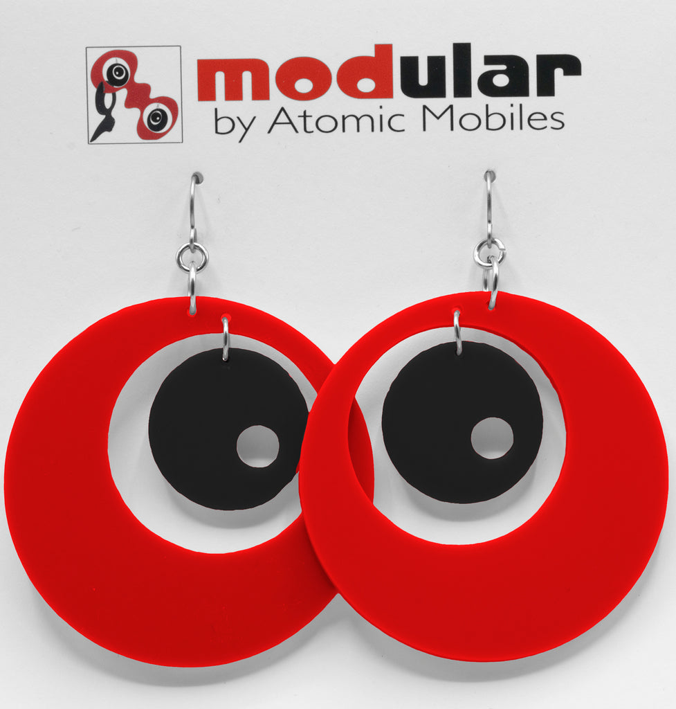 MODular Earrings - Groovy Statement Earrings in Red and Black by AtomicMobiles.com - retro era inspired mod handmade jewelry