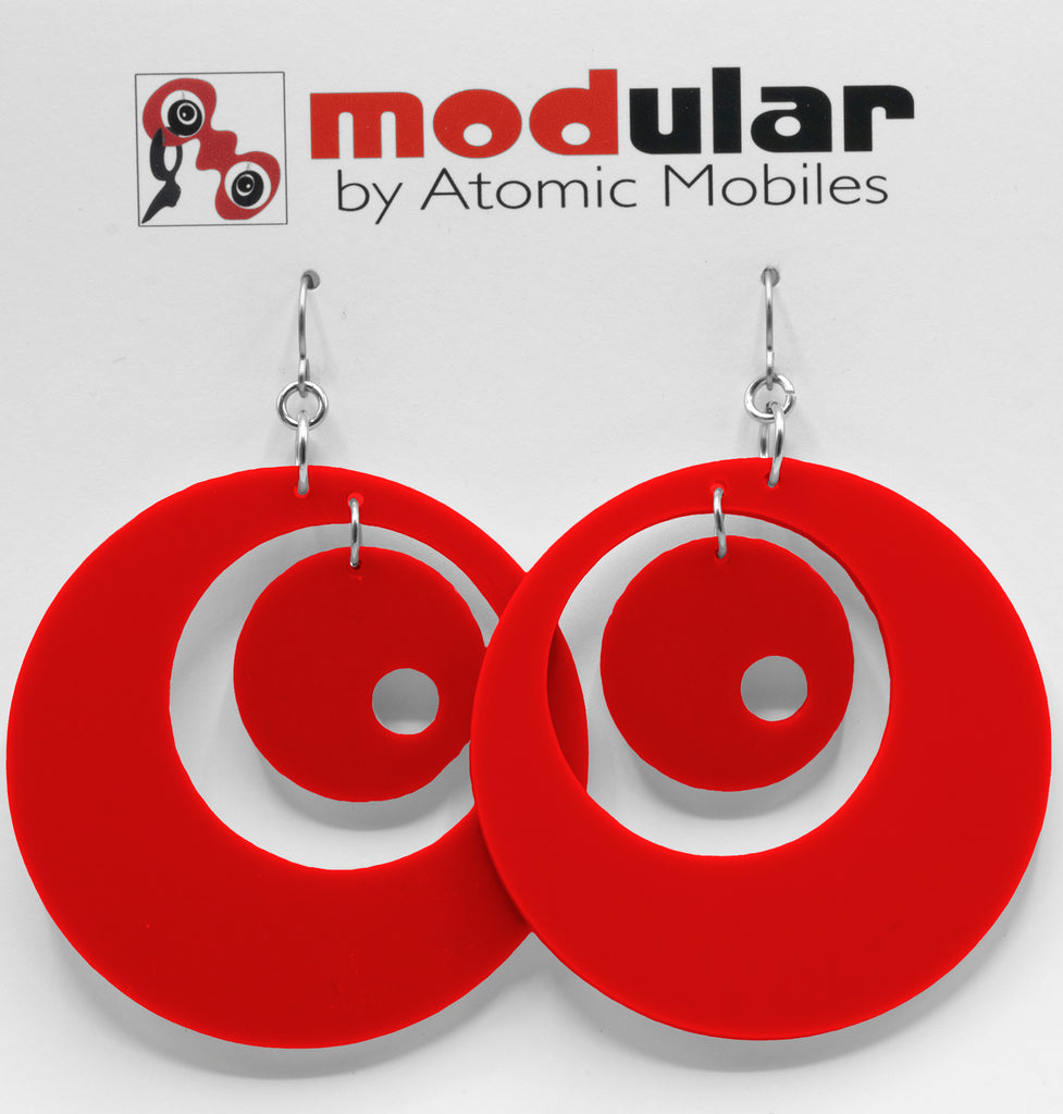 Groovy Statement Earrings in Red - space age midcentury retro inspired dangle earrings - handmade jewelry by AtomicMobiles.com