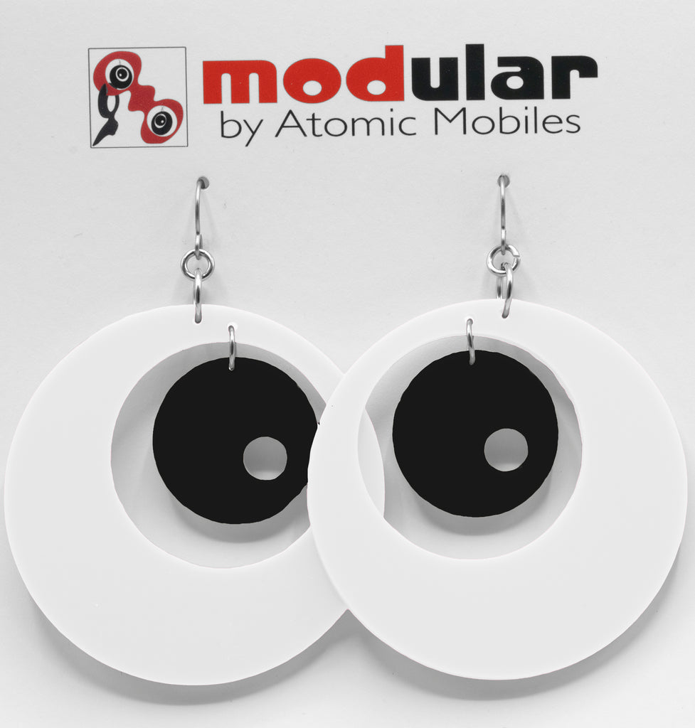 MODular Earrings - Groovy Statement Earrings in White and Black by AtomicMobiles.com - retro era inspired mod handmade jewelry