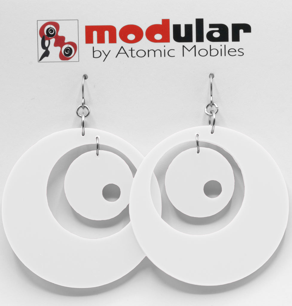 Groovy Statement Earrings in White - space age midcentury retro inspired dangle earrings - handmade jewelry by AtomicMobiles.com