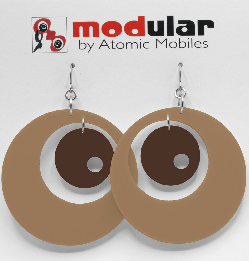 MODular Earrings - Groovy Statement Earrings in Beige Tan and Brown by AtomicMobiles.com - retro era inspired mod handmade jewelry
