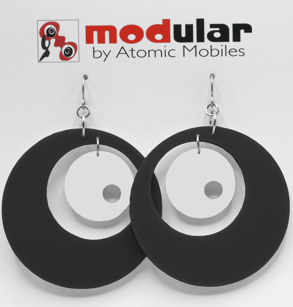 MODular Earrings - Groovy Statement Earrings in Black and White by AtomicMobiles.com - retro era inspired mod handmade jewelry