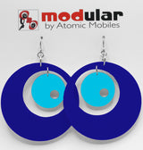 MODular Earrings - Groovy Statement Earrings in Navy Blue by AtomicMobiles.com - retro era inspired mod handmade jewelry