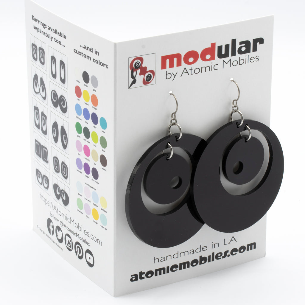 MODular Earrings Card - Groovy Statement Earrings by AtomicMobiles.com - retro era inspired mod handmade jewelry