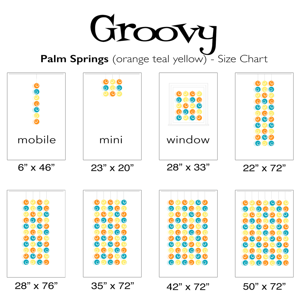 Groovy Color Chart for Palm Springs mobiles, curtains, and room dividers by AtomicMobiles.com