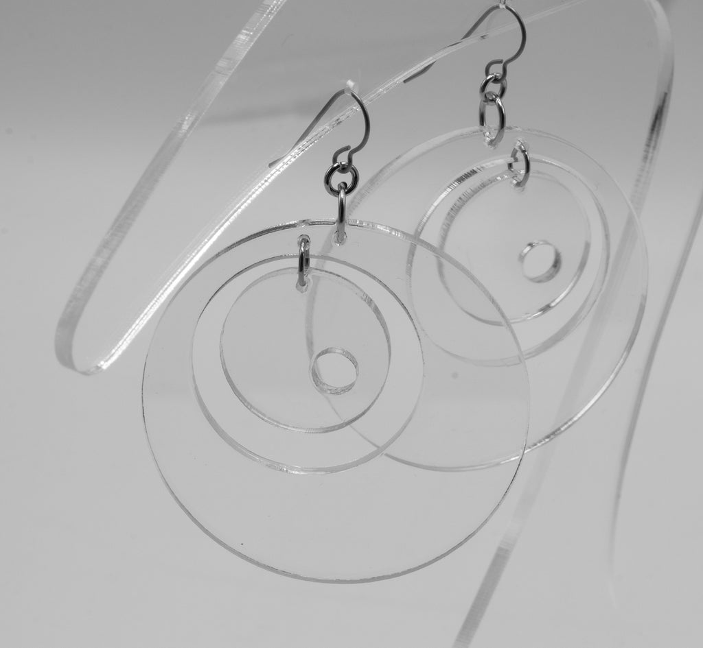 MODular Earrings - Groovy Statement Earrings in Clear Acrylic by AtomicMobiles.com - retro era inspired mod handmade jewelry