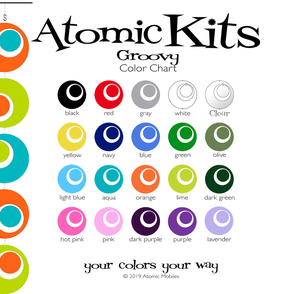 Groovy Atomic Kits Color Chart by AtomicMobiles.com
