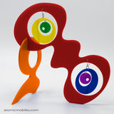 LGBTQ Rainbow Pride Groovy Tabletop Sculpture + Earrings in Red by AtomicMobiles.com