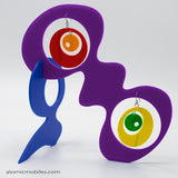 LGBTQ Rainbow Pride Groovy Tabletop Sculpture + Earrings in Purple by AtomicMobiles.com