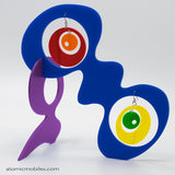 LGBTQ Rainbow Pride Groovy Tabletop Sculpture + Earrings in Blue by AtomicMobiles.com