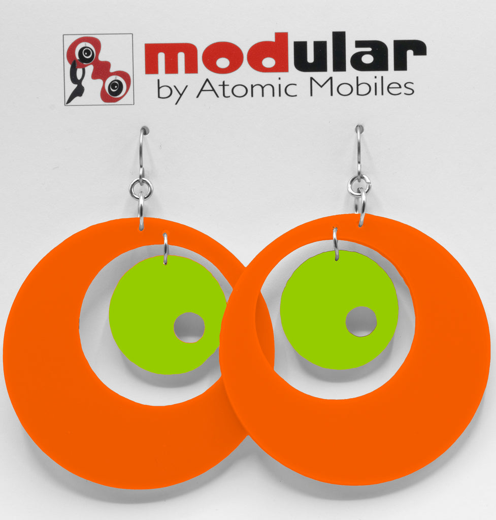 MODular Earrings - Groovy Statement Earrings in Orange and Lime by AtomicMobiles.com - retro era inspired mod handmade jewelry