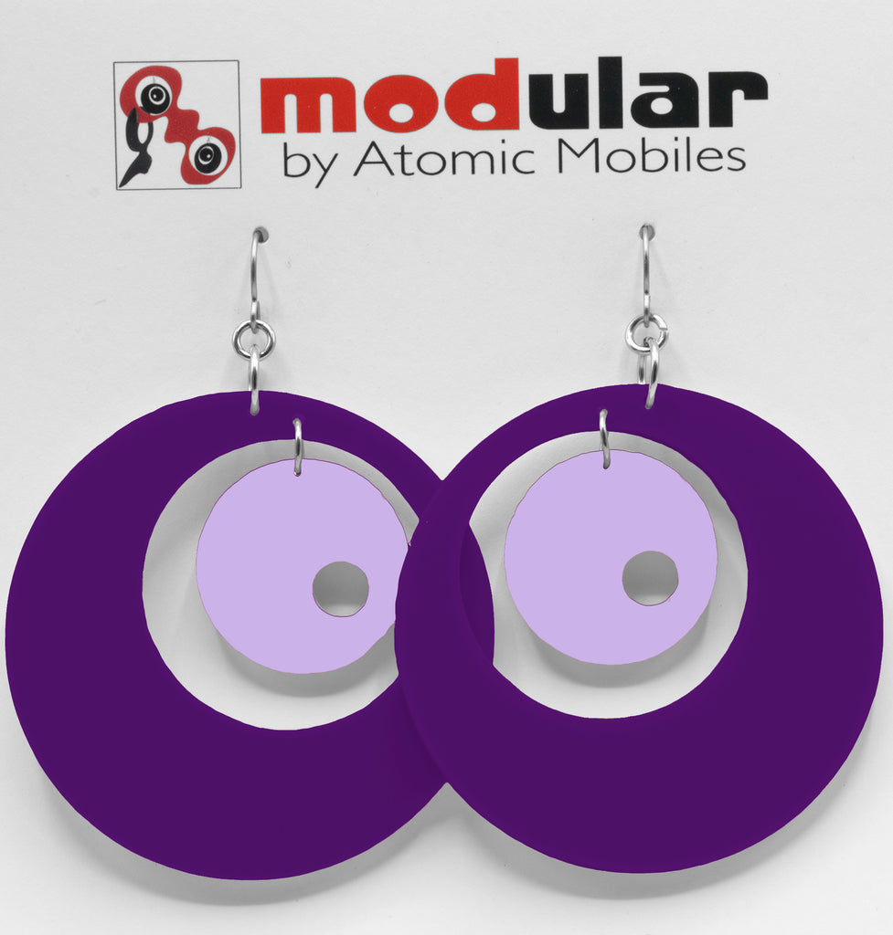 MODular Earrings - Groovy Statement Earrings in Purple by AtomicMobiles.com - retro era inspired mod handmade jewelry