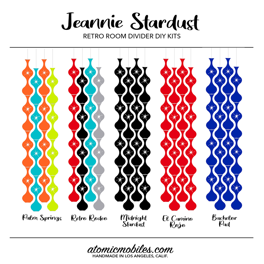 Jeannie Stardust Mid Century Modern retro room divider panels DIY Kit Colors - by AtomicMobiles.com
