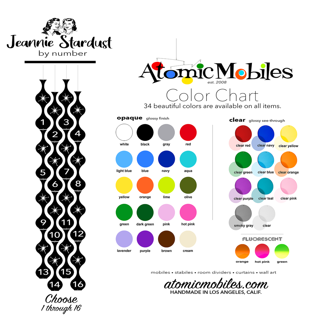 Jeannie Stardust Hanging Art Mobiles Color Chart for 34 Custom Colors that YOU choose for your mid century modern inspired home decor by AtomicMobiles.com