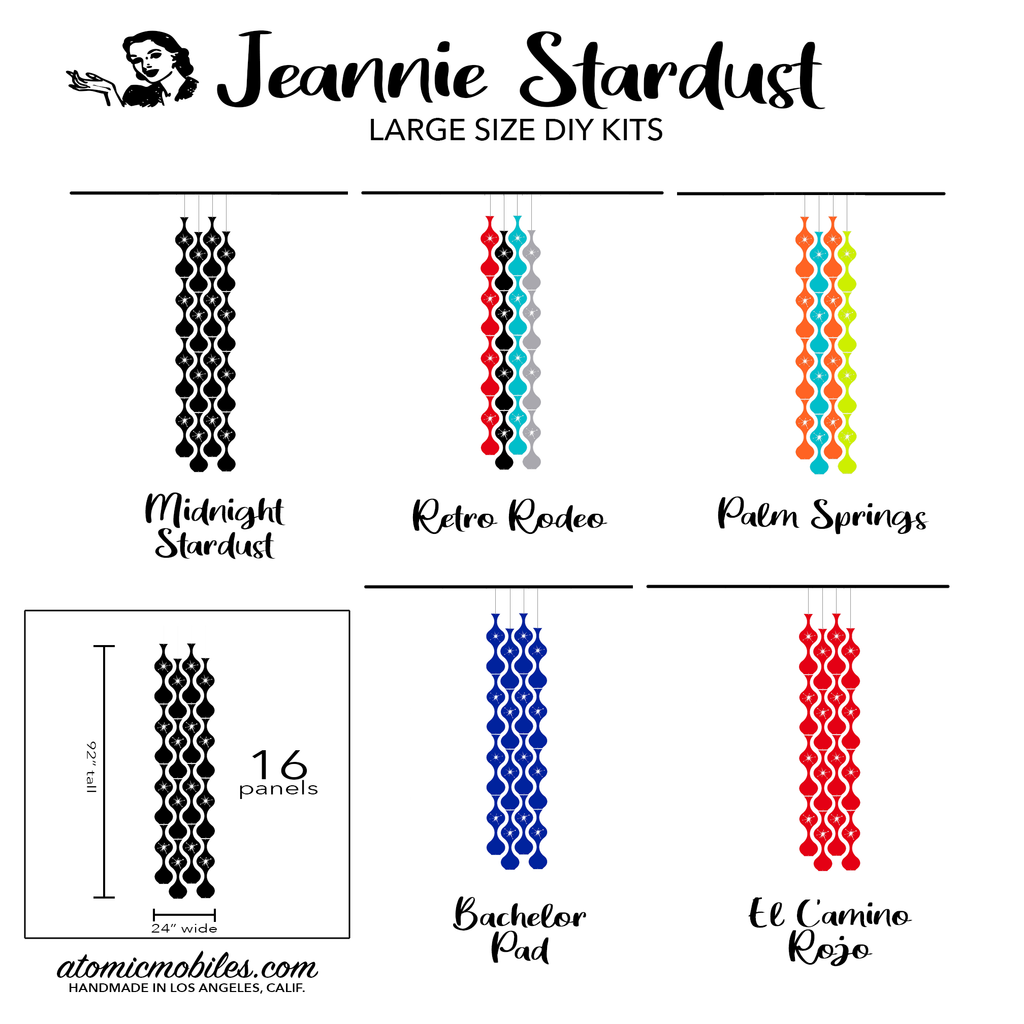 Jeannie Stardust Mid Century Modern retro room divider panels DIY Kit Large Size - by AtomicMobiles.com