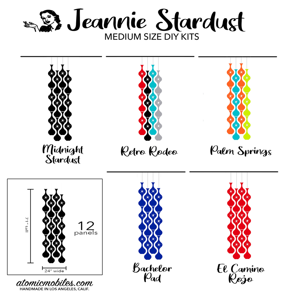 Jeannie Stardust Mid Century Modern retro room divider panels DIY Kit Medium Size - by AtomicMobiles.com