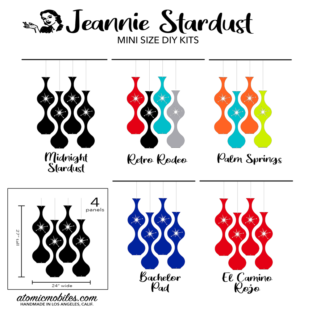 Jeannie Stardust Mid Century Modern retro room divider panels DIY Kit Mini Size - by AtomicMobiles.com