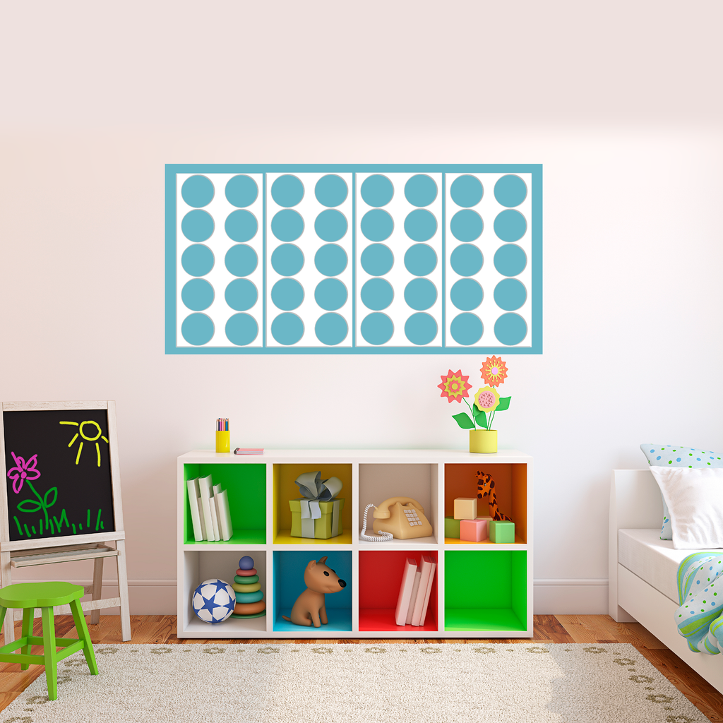 Hip modern kids room with white Retro Wall Tiles on baby blue painted background by AtomicMobiles.com