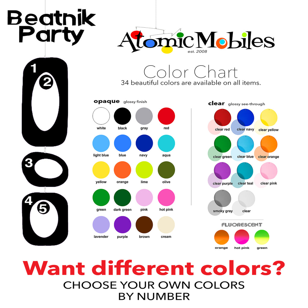 Color Chart for Mid Century Modern Retro Beatnik Party Christmas Decorations in colors YOU choose by AtomicMobiles.com