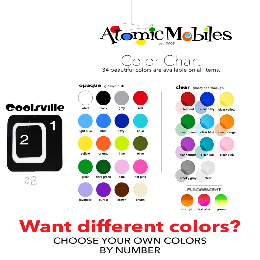 Custom Colors Color Chart for Christmas Coolsville Decorations Mobiles by AtomicMobiles.com