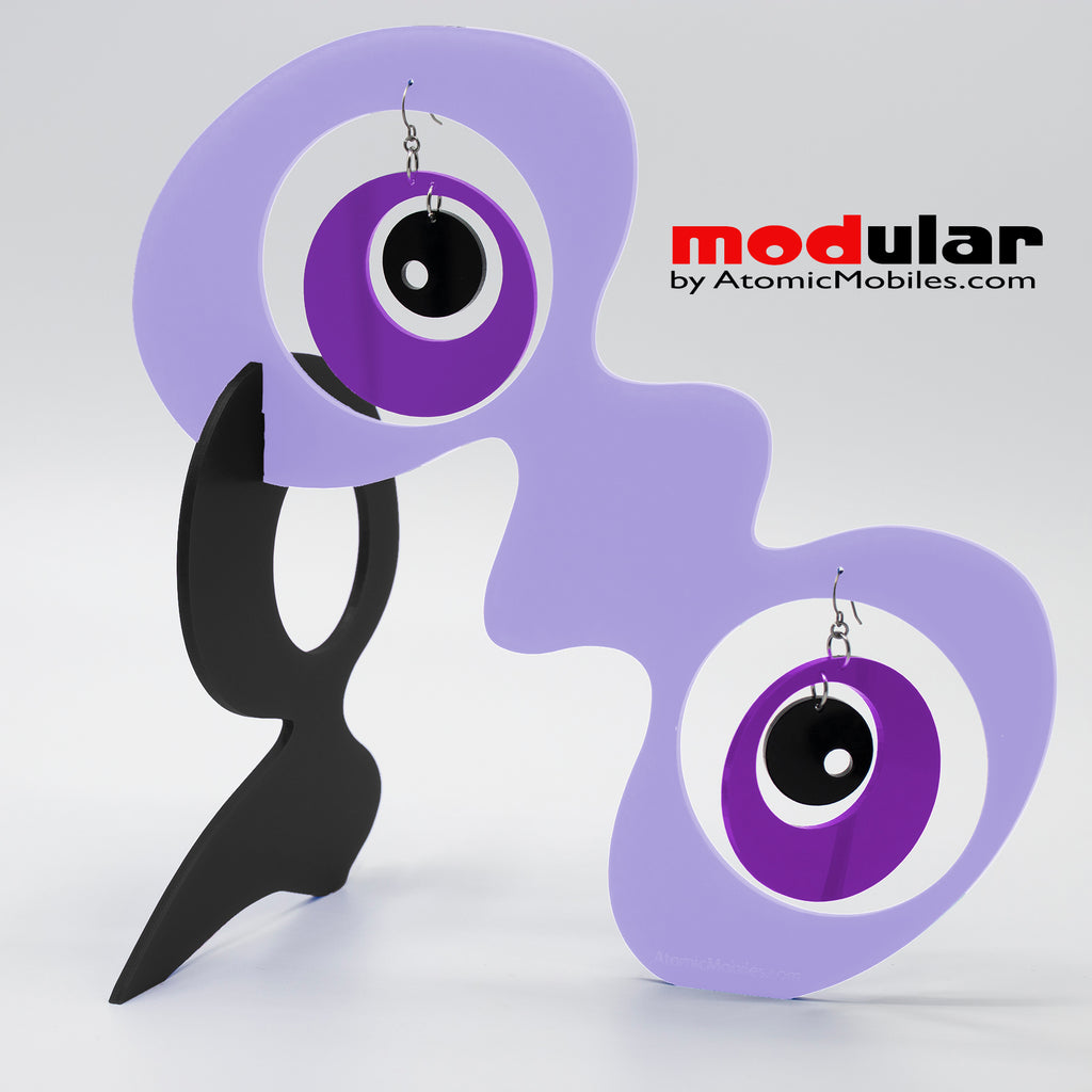 Handmade Groovy style earrings and stabile kinetic modern art sculpture in Lavender Black and Purple by AtomicMobiles.com