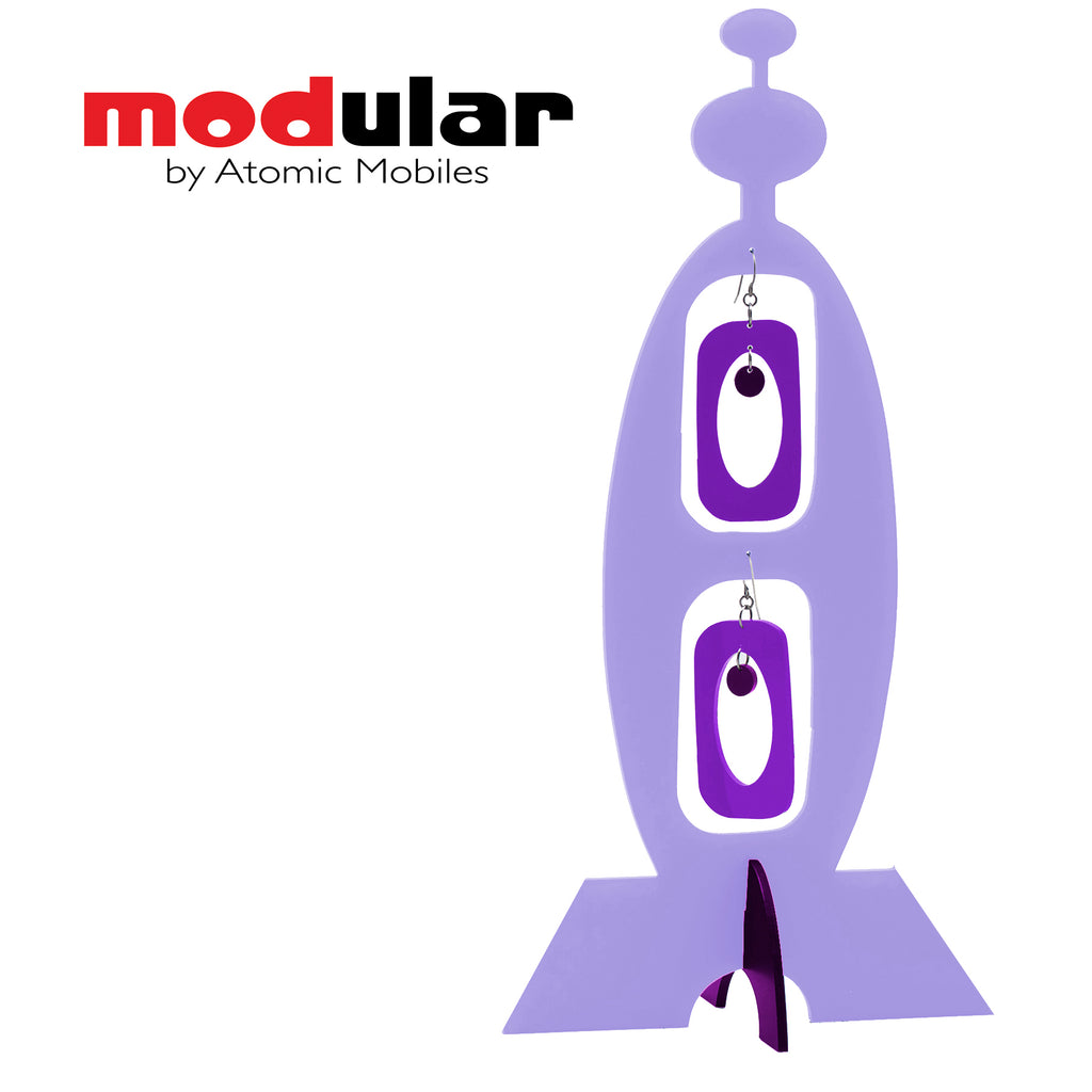 MODular Earrings + Stabile modern art sculpture in Lavender and Purple by AtomicMobiles.com