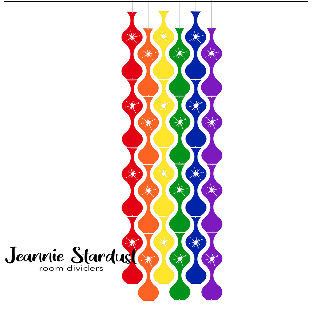 Jeannie Stardust Room Dividers in LGBTQ+ Rainbow Pride Colors by AtomicMobiles.com
