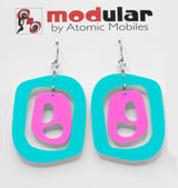 MODular Earrings - Mid 20th Statement Earrings in Aqua and Hot Pink by AtomicMobiles.com - retro era mod handmade jewelry