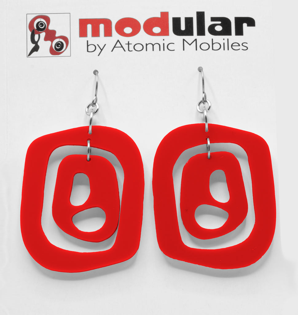 MODular Earrings - Mid 20th Statement Earrings in Red by AtomicMobiles.com - retro era mod handmade jewelry