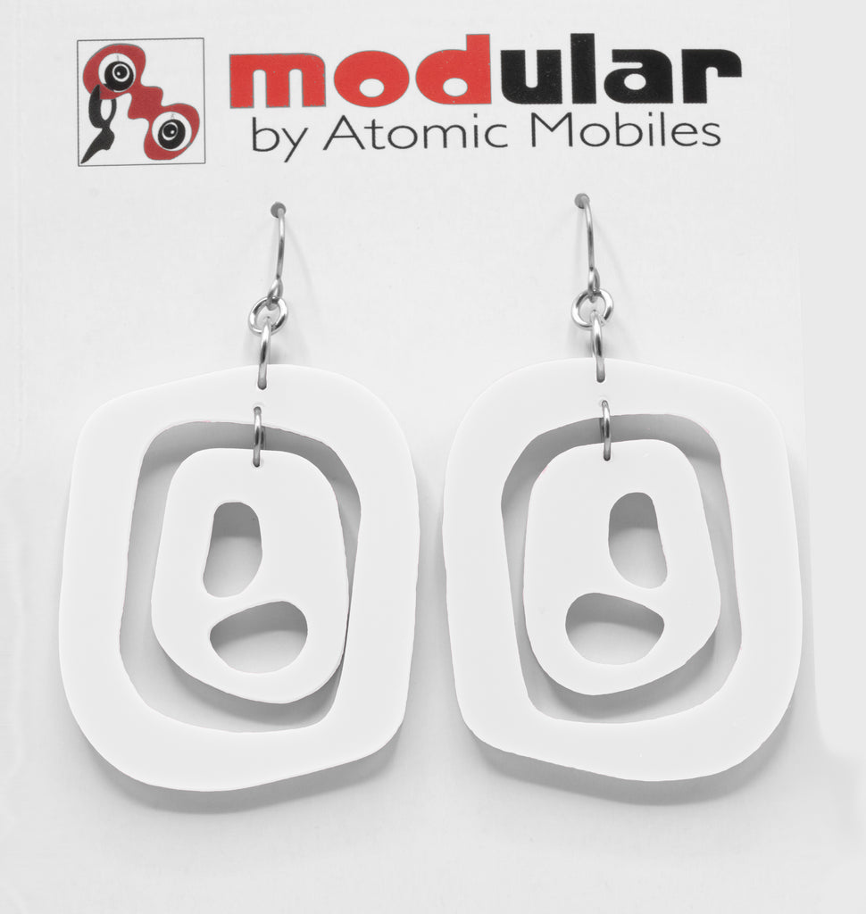 MODular Earrings - Mid 20th Statement Earrings in White by AtomicMobiles.com - retro era mod handmade jewelry