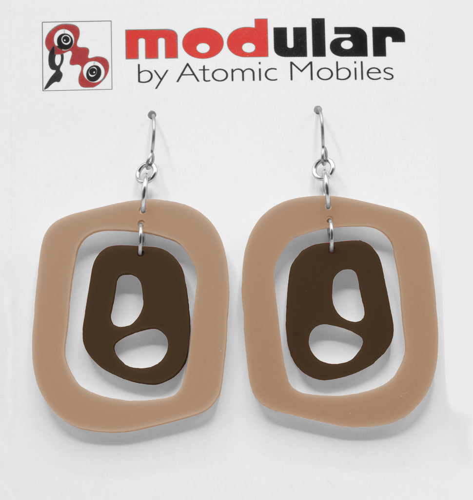 MODular Earrings - Mid 20th Statement Earrings in Beige Tan and Brown by AtomicMobiles.com - retro era mod handmade jewelry
