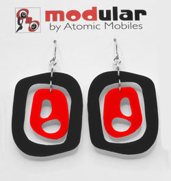 MODular Earrings - Mid 20th Statement Earrings in Black and Red by AtomicMobiles.com - retro era mod handmade jewelry
