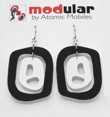 MODular Earrings - Mid 20th Statement Earrings in Black and White by AtomicMobiles.com - retro era mod handmade jewelry