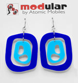 MODular Earrings - Mid 20th Statement Earrings in Navy Blue by AtomicMobiles.com - retro era mod handmade jewelry