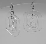 MODular Earrings - Mid 20th Statement Earrings in Clear Acrylic by AtomicMobiles.com - retro era mod handmade jewelry