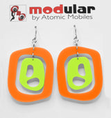 MODular Earrings - Mid 20th Statement Earrings in Orange and Lime by AtomicMobiles.com - retro era mod handmade jewelry